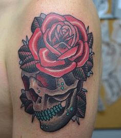 Done by Justin Murphy at Adrenaline Toronto. #tattoos #toronto #colourtattoos #skull #skulltattoos #rose #rosetattoos #adrenalinetoronto #torontotattoos
