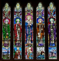 From left to right: Saint Déaglán of Ardmore (Aird Mhór), refered to as St Declan, Ciarán of Tubbrid, the patron of the church and refered to as St Ceran, Madonna and child, Mochuda of Lismore, refered to as St Cartage, and Odhrán Maighistir, refered to as St Oteran. Church of Our Lady and St. Kieran, Ballylooby, Ireland.