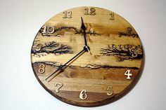 Wood clock, round wall clock, wall art clock, wooden clock, lichtenberg, wood hanging clock by CurrenTimepiece on Etsy