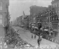 [Funeral of Pres. Grant, New York City: groups of men marching in backgrd. 3 men in light pole in foregrd. Ulysses S Grant, Interesting History, American Civil War, Peace Of Mind, Paris Skyline, New York City, Rome, The Help, Street View