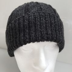 Great soft, warm and stylish men's beanie. Hand knitted in Scotland and ready to ship!