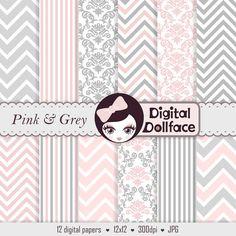 Pink and Grey Digital Paper Chevron & Damask por DigitalDollFace