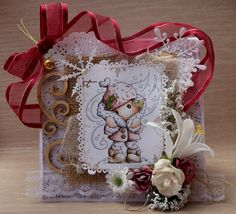 Back with a brand new card for Marvelous Magnolia 's ribbon or lace challenge ! today i'm using the lovely it's cold outside sta. Scrapbooking, Its Cold Outside, The Outsiders, Floral Wreath, Wreaths, Magnolias, Cards, Decor, Magnolia Trees