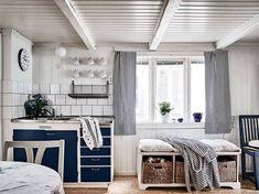 Scandinavian Interior Design, Coastal Living, Entryway Bench, Kitchen Dining, Cottage, Bed, Furniture, Home Decor, Kitchens