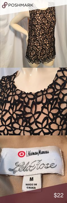 Lela Rose/Neiman Marcus for Target Floral Lace Top Lela Rose tank top from the Neiman Marcus and Target collection. Sleeveless black floral lace over champagne colored shell. Great for business casual dress and pair with a blazer and jeans! Size medium. Neiman Marcus  Tops