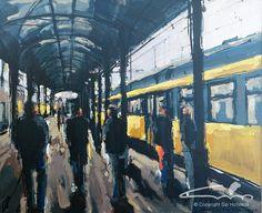 station Groningen - Aankomst-en-vertrek-50x60cm-acryl op doek