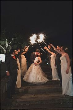 Scout the space beforehand Ask your venue where they will allow sparklers to be lit. Then make sure that the space gives you enough room for two rows of guests to line up and still allows the two of you to comfortable walk between them on your way to your waiting getaway car. See more of this Sunset Gamer Wedding here photographed by Whittaker Portraits.