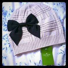 NEW Kate Spade Bow Beanie Such a cute beanie! NWT. Its a tan-ish color with a black bow. ASK for discounted shipping! kate spade Accessories Hats