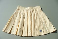 1980's Vintage Pale Yellow Pleated Jamie Sadock Tennis Golf Skirt, With Pocket  Zips Up Back ~ Mini Skirt ~ Size 8 ~ Perfect Condition