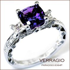 Wedding Rings Amethyst ring--looks like my promise ring turned engagement ring from Chris… Purple Engagement Rings, Verragio Engagement Rings, Diamond Wedding Rings, Diamond Rings, Wedding Bands, Verragio Rings, Alexandrite Engagement Ring, Bridal Rings, Solitaire Engagement