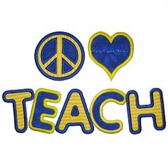 Peace, Love, Teach Applique - 2 Sizes! | back-to-school | Machine Embroidery Designs | SWAKembroidery.com Applique Time