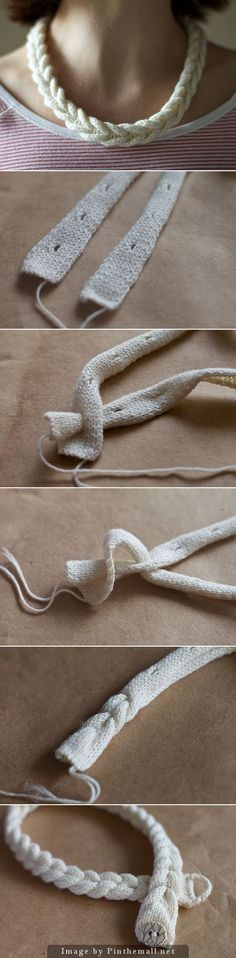 """#Knitting_Tutorial - """"A very clever way to create a braided looking necklace or bracelet. Lots of information and many more pictures at olgajazzzy."""" Enjoy from #KnittingGuru ** http://www.KnittingGuru.etsy.com"""