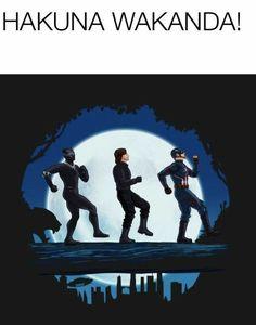 Marvel Captain America, Winter Soldier and Black Panther are performing Hakuna Wakanda in Wakanda. Marvel Captain America, Winter Soldier and Black Panther are performing Hakuna Wakanda in Wakanda. Marvel Avengers, Marvel Jokes, Humour Avengers, Hero Marvel, Films Marvel, Funny Marvel Memes, Dc Memes, Funny Jokes, Marvel Art