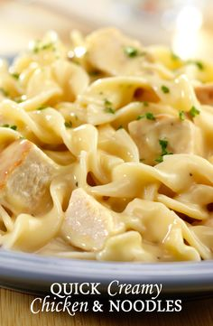 Quick Creamy Chicken & Noodles - Cream of chicken and mushroom soups combines with chicken, noodles and Parmesan cheese to make a delicious, family-friendly dinner in just 25 minutes.