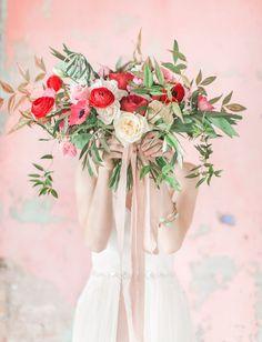 Red + pastel bridal bouquet