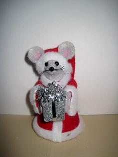 Santa Mouse with a Present by atticmouse on Etsy, $12.00