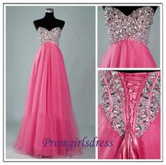 New Arrival Pink Sweetheart Crystal Chiffon Long Prom Dress, Bridesmaid Dress, Party Dress, Evening Dress, Wedding Party Dress on Etsy, $159.00