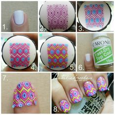 TUTORIAL FOR ADVANCED STAMPING NON-DECAL TECHNIQUE 1. apply base color 2. pick up the desired image  3-4-5. fill-in the spaces with preferred colors; let dry. 6. apply fast dry top coat; let dry (you need to feel the surface of your nail if it's sticky(newly dried,not wet!) then it's the perfect time to stamp) 7. stamp the image directly to your nails 8. clean it up. add top coat, matted top coat or glitter top coat inspired by: Messy Mansion and Enamel Girl blog tutorials