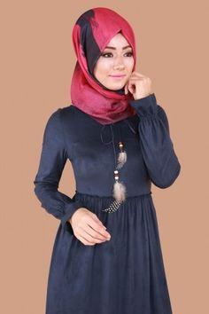 Bağcıklı Tesettür Süet Elbise PUA6128 İndigo - Thumbnail