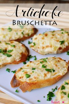 Artichoke Bruschetta or Hot Artichoke Dip ~ bubbly, cheesy artichoke spread makes for an easy appetizer (on baguette slices) or dip (in a baking dish), depending on how fancy the occasion is Five Heart Home Finger Food Appetizers, Yummy Appetizers, Appetizers For Party, Vegetable Appetizers, Appetizer Dessert, Bite Size Appetizers, Vegetarian Appetizers, Vegetable Recipes, Christmas Party Appetizers