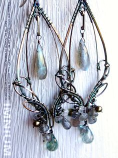 Mirage - large elaborate earrings - sterling/fine silver, labradorite, aquamarine, freshwater pearls, quartz