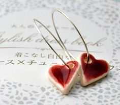 Shiny Hearts Earrings - Sterling Silver Hoops, Porcelain Clay Red Hearts - Kosmika on Etsy favorite-places-and-spaces Porcelain Clay, Porcelain Jewelry, Ceramic Jewelry, Ceramic Beads, Ceramic Clay, Clay Beads, Polymer Clay Jewelry, Ceramic Pottery, Clay Projects