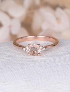 Morganite engagement ring Rose gold cluster diamond wedding