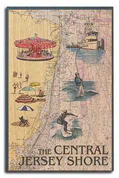 Central Jersey Shore - Nautical Chart #2 (10x15 Wood Wall Sign, Wall Decor Ready to Hang) #Central #Jersey #Shore #Nautical #Chart #Wood #Wall #Sign, #Decor #Ready #Hang)