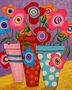 Floral Happiness Painting by John Blake - Floral Happiness Fine Art Prints and Posters for Sale