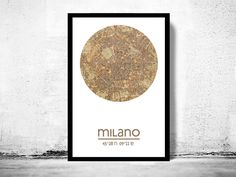 MILAN MILANO - city poster - city map poster printPoster perfect for the office, bedroom, halls, or anywhere in the home.****The Poster is printed on fine HP Heavyweight matte Lithorealistic paper 270gsm with 100 years guarantee.The frame is not i...