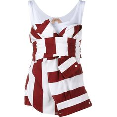 Nº21 Sleeveless Striped & Knotted Top (89110 RSD) ❤ liked on Polyvore featuring tops, red, sleeveless tops, red striped shirt, wrap shirt, red stripe shirt and red sleeveless top
