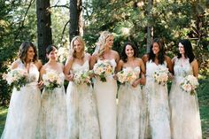 Ethereal bridesmaids dresses. Earth-tone outdoor wedding. Blush and sage flowers.