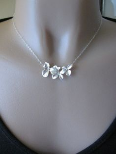 Orchid Necklace, Silver Orchid Necklace, Three Orchid Necklace, STERLING CHAIN, Flower Necklace, Bridesmaid Jewelry, Wedding Jewelry. $25.00, via Etsy.
