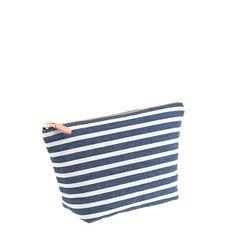 Stripe Denim Zip Pouch Me Bag J Crew Pouches Suntan Lotion Small