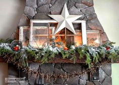 Illuminated old windows Christmas mantel via www.funkyjunkinte...