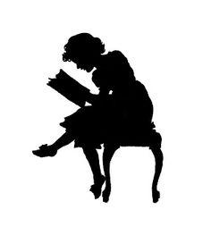Victorian Silhouette Clip Art   Free Clip Art of Antique Silhouette: Girl Reading Book