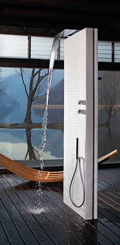 Multifunction thermostatic LED shower column ACQUAPURA by Fantini Rubinetti