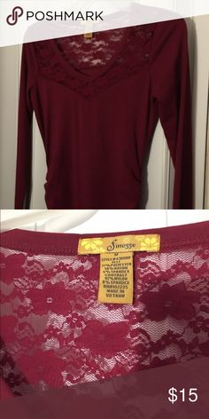Red long sleeve shirt Long sleeve shirt.  T shirt feel with lace and shirred sides. Finesse Tops Tees - Long Sleeve