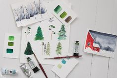 Pretty watercolor pine trees and winter scenes | Finding Silver Pennies #christmasinspiration #gifttags #freeprintables #watercolor