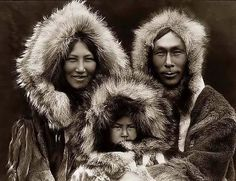 "Beautiful Inuit Family - 1929    ""May you have warmth in your igloo, oil in your lamp, and peace in your heart"" --Eskimo Proverb  ©Edward Curtis."