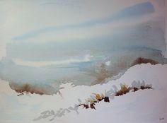 Côte enneigée - paysage figuratif à la peinture aquarelle sur papier Moulin du Coq format 24X32 cm - neige ciel horizon : Peintures par clau-mandarine