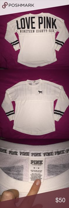 Victoria Secret Pink Varsity Crew Adorable Victoria Secret Pink Lightweight Varsity Crew Sweatshirt! It's in perfect condition absolutely no flaws at all! It's an oversized fit so could fit up to a large! PINK Victoria's Secret Tops Sweatshirts & Hoodies