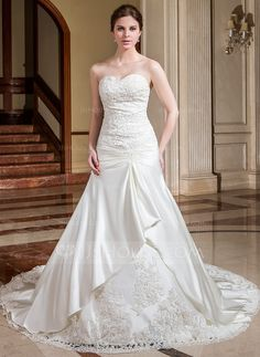 A-Line/Princess Sweetheart Cathedral Train Satin Wedding Dress With Ruffle Lace Beading Flower(s) (002004539) - JJsHouse