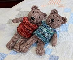 Designed to be knit in the round with magic loop, this 9 – 10″ teddy is cast on at the top of his head and shaped throughout with strategically placed increases and decreases. Happily, this knit one piece teddy bear pattern has hardly any seaming other than sewing his ears to his little noggin. The rest of his body – even his vest is one piece! The pattern can be easily modified to knitting with double point needles.