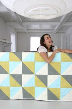 Amy Butler via Kiwi Quilts   simple geometric quilt - color inspiration