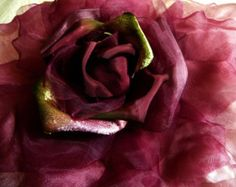 SALE Extra Large Silk and Velvet Rose Tangerine by APinkSwan