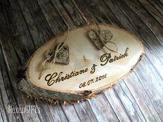 Ringkissen Holz Herzen aus Rinde inkl. Gravur von HexenGIFTs