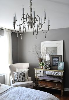 A Guest Bedroom Makeover in Grays-Benjamin Moore graystone in matte finish aura line