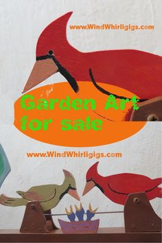 Pair of cardinal birds feed the chicks in the nest Kinetic Toys, Cardinal Birds, Wind Spinners, Funny Art, Garden Projects, Garden Art, Wood Crafts, Pop Art, Animals