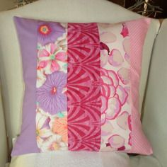 """Housse de coussin """"printemps en fleurs"""" violet, fuchsia, rose & blanc"""